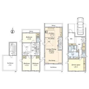 世田谷区 駒沢 3LDK {building type} 間取り
