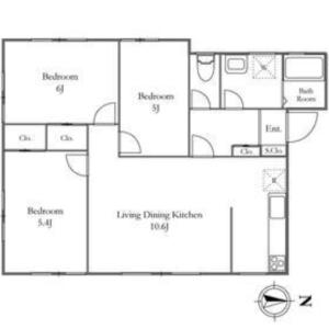 3LDK Mansion in Okura - Setagaya-ku Floorplan