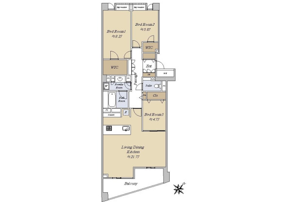 2SLDK Apartment to Buy in Shibuya-ku Floorplan