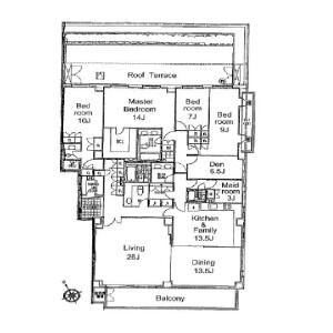 港区元麻布-4LDK公寓 楼层布局