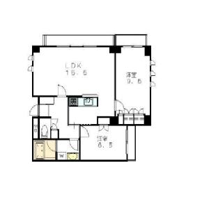 2LDK Apartment in Uehara - Shibuya-ku Floorplan