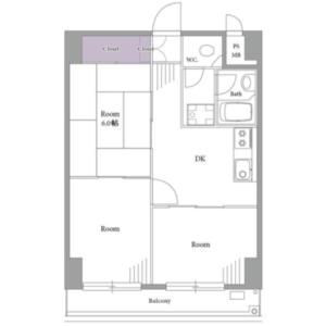 新宿区西新宿-3DK{building type} 楼层布局