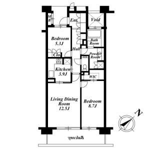 2LDK Mansion in Fukasawa - Setagaya-ku Floorplan