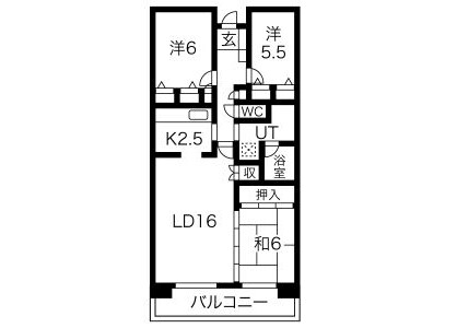 3LDK Apartment to Rent in Takatsuki-shi Floorplan