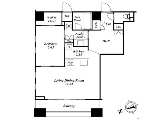 1SLDK Apartment to Rent in Shinagawa-ku Floorplan
