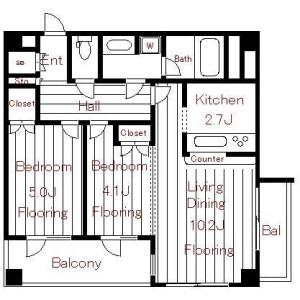 2LDK Apartment in Ichigayahommuracho - Shinjuku-ku Floorplan