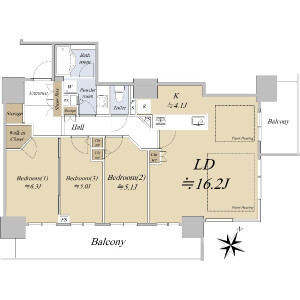 3LDK {building type} in Sagisu - Osaka-shi Fukushima-ku Floorplan