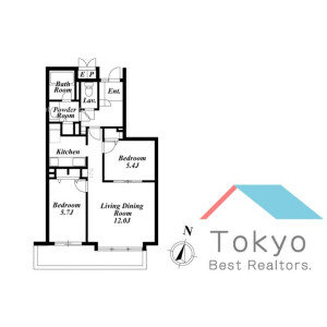 2LDK Mansion in Shinogawamachi - Shinjuku-ku Floorplan