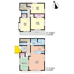 4LDK House in Okino - Sendai-shi Wakabayashi-ku Floorplan