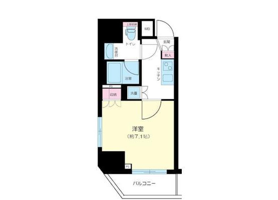 1K Apartment to Buy in Minato-ku Floorplan