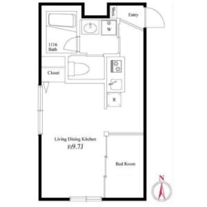 1DK Apartment in Nishikojiya - Ota-ku Floorplan