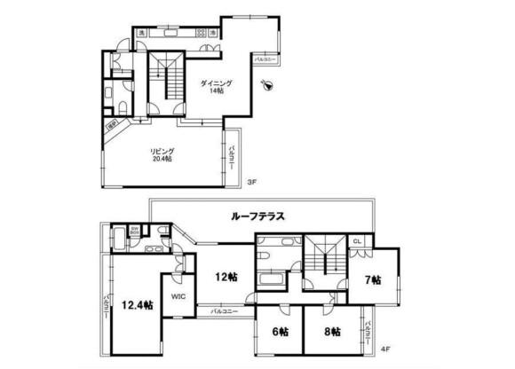 4SLDK Apartment to Rent in Minato-ku Floorplan