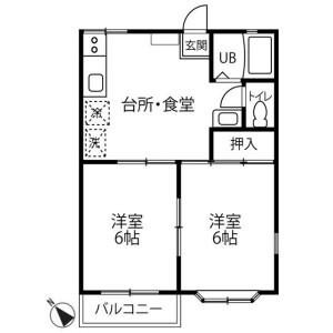 2DK Apartment in Negishimachi - Machida-shi Floorplan