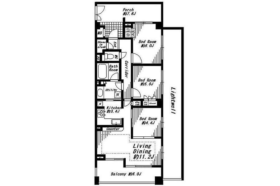 3LDK Apartment to Rent in Yokohama-shi Naka-ku Floorplan