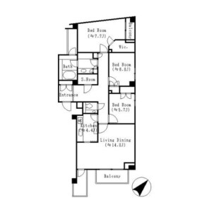 3SLDK Mansion in Higashigotanda - Shinagawa-ku Floorplan