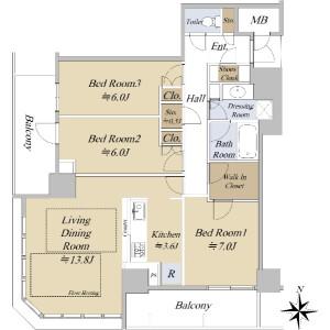 大阪市西区新町-3LDK{building type} 楼层布局