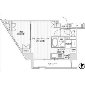 澀谷區笹塚-1LDK公寓大廈 房間格局