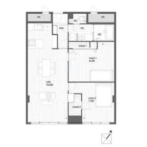 港區赤坂-2LDK{building type} 房間格局