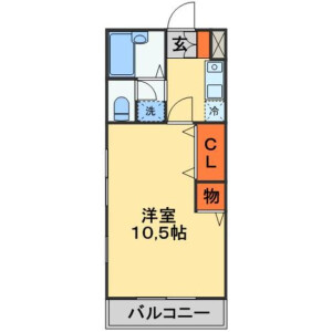 1K Apartment in Natsumidai - Funabashi-shi Floorplan