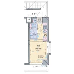 新宿区市谷砂土原町-1K公寓大厦 楼层布局