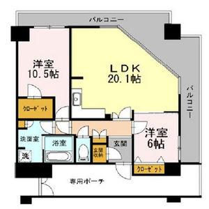 大阪市中央區高津-2LDK公寓大廈 房間格局