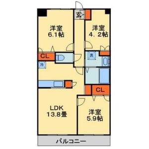 3LDK Mansion in Wakamatsucho - Chiba-shi Wakaba-ku Floorplan