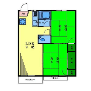 2LDK Apartment in Futaba - Shinagawa-ku Floorplan