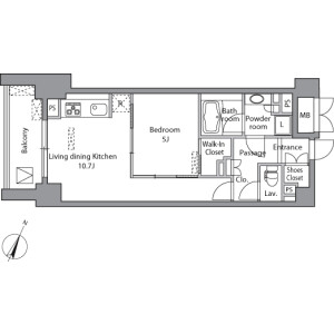 1LDK Mansion in Misakicho - Chiyoda-ku Floorplan