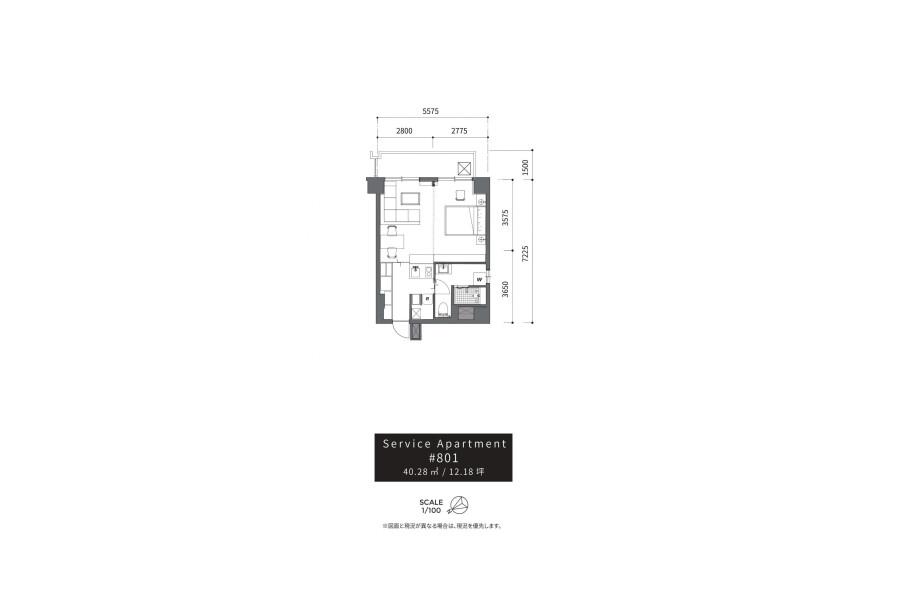 1DK Serviced Apartment to Rent in Shibuya-ku Floorplan