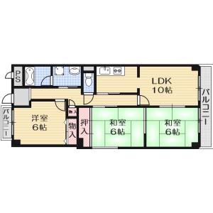 3LDK Mansion in Kurakakiuchi - Ibaraki-shi Floorplan