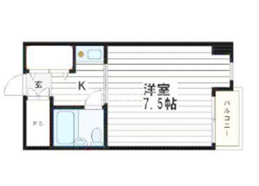 1K Apartment to Rent in Osaka-shi Chuo-ku Floorplan