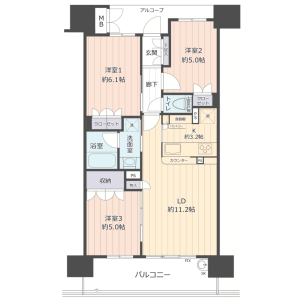 3LDK {building type} in Chuo - Osaka-shi Joto-ku Floorplan