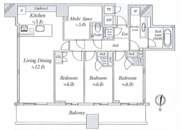 3LDK Apartment to Buy in Chuo-ku Floorplan