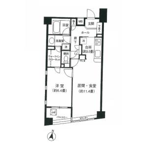 1LDK Mansion in Minamiazabu - Minato-ku Floorplan