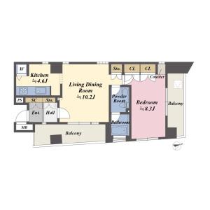 港区 - 海岸(1、2丁目) 公寓 1LDK 房間格局