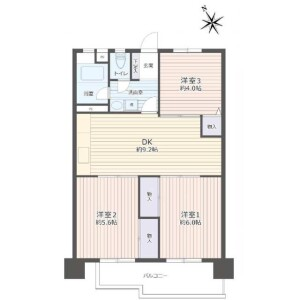 名古屋市名東区 - 亀の井 公寓 3DK 房間格局