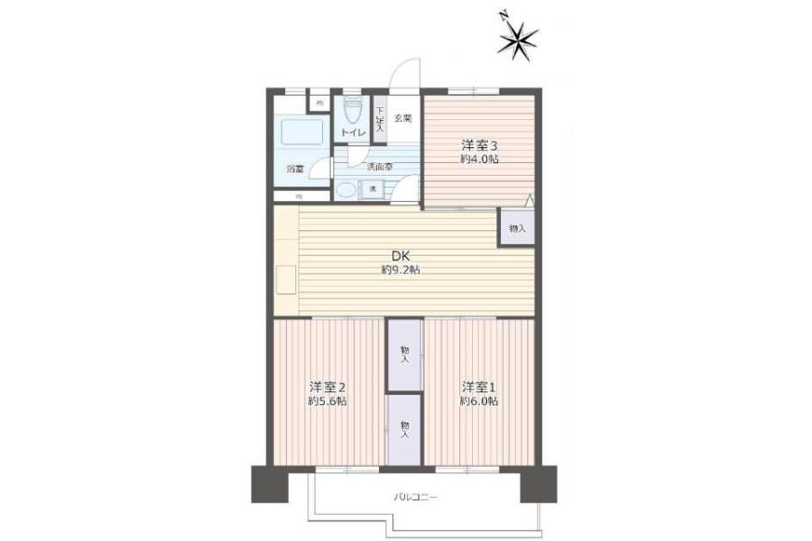 在Nagoya-shi Meito-ku購買3DK 公寓的房產 房間格局