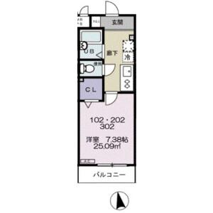 習志野市谷津-1K公寓 楼层布局