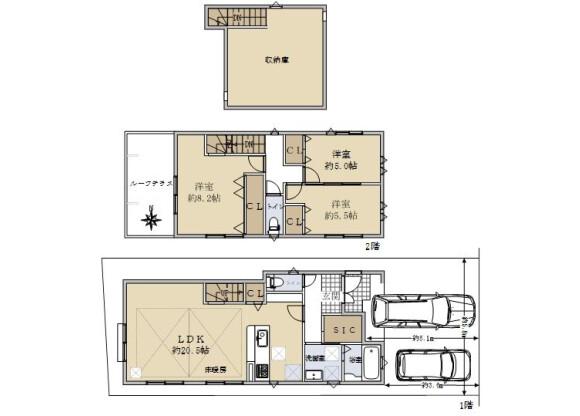 3LDK House to Buy in Kyoto-shi Nishikyo-ku Floorplan