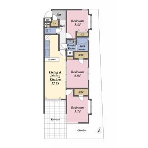 3SLDK Apartment in Hikawadai - Nerima-ku Floorplan