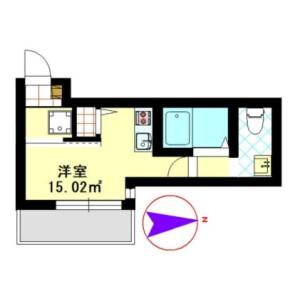 1R Apartment in Kaminokidai - Yokohama-shi Kanagawa-ku Floorplan