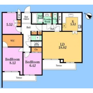 2SLDK Apartment in Kamiosaki - Shinagawa-ku Floorplan