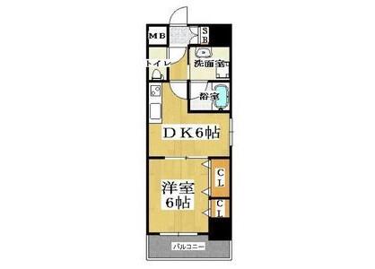 1DK Apartment to Rent in Osaka-shi Naniwa-ku Floorplan