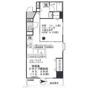 1LDK Apartment in Shiba(1-3-chome) - Minato-ku Floorplan
