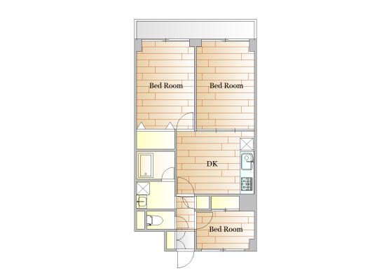 3DK Apartment to Rent in Meguro-ku Floorplan