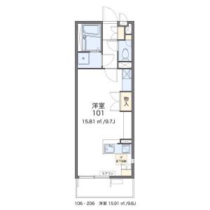 福岡市中央区春吉-1R公寓大厦 楼层布局