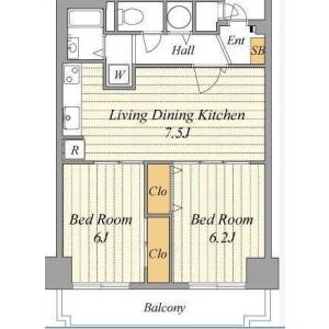 2DK Mansion in Shibaura(2-4-chome) - Minato-ku Floorplan
