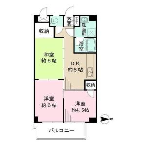 3DK Mansion in Higashi - Kunitachi-shi Floorplan