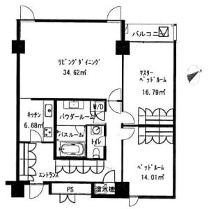 澀谷區千駄ヶ谷-2LDK公寓 房間格局