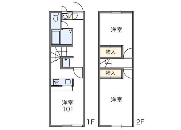 2DK Apartment to Rent in Abiko-shi Floorplan